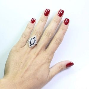 Women CZ Stone Ring 925 Silver Filled Vintage look